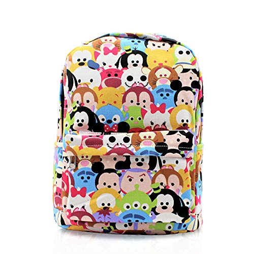 Finex Tsum Tsum Pattern Multicolored Canvas Cute Cartoon Casual Backpack with 15 inch Laptop Storage Compartment Daypack Travel Snack Sport Bag Gift