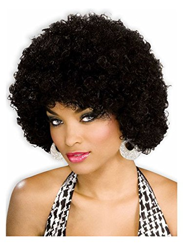 Unisex Afro Wig/ Assorted Color Clown Wigs, Black, One Size - Disco Afro Wig In Black