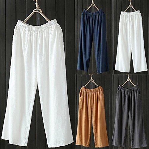 Pants Causal Ample Lin Gris Sanfashion Loose Plage Fluide Pantalon Confortable Casual Femme Coton nvXwFpU