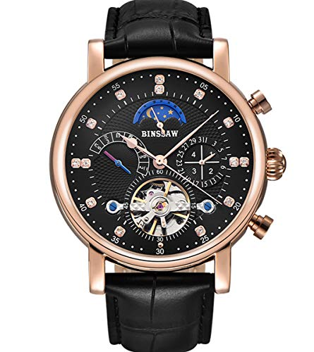 BINSSAW Men's Mechanical Watch Luxury Leather Strap Automatic Tourbillon Watches Sport Gold Wristwatch Waterproof JH-Black