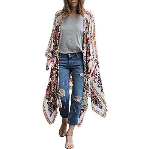 kaifongfu Women Shawl, Floral Print Chiffon Loose Shawl Kimono Cardigan Top Cover up Shirt Blouse (XXL, White) by kaifongfu