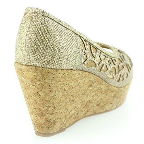 Mujer Señoras Noche Fiesta Peeptoe Diamante Tacón de Cuña Sandalias Zapatos Talla Champán
