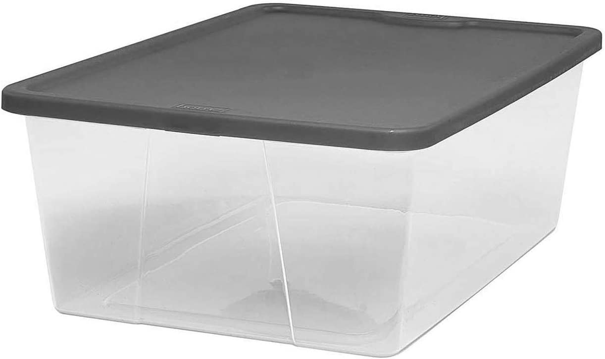 HOMZ Snaplock Clear Storage Bin with Lid, Small-12 Quart, Grey, 4 Count