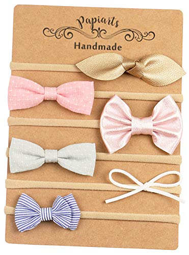 Baby Girl Headbands and Bows, Skinny Nylon Headbands, Assorted 6 Packs of Hair Accessories for Newborn Toddler ()
