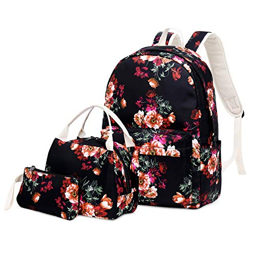 FLYMEI Teens Backpack, College Bagpack for Teen Girls/Women, Lightweight Floral Backpack, Lightweight Laptop Bag, 17.3''x11.8''x5.9