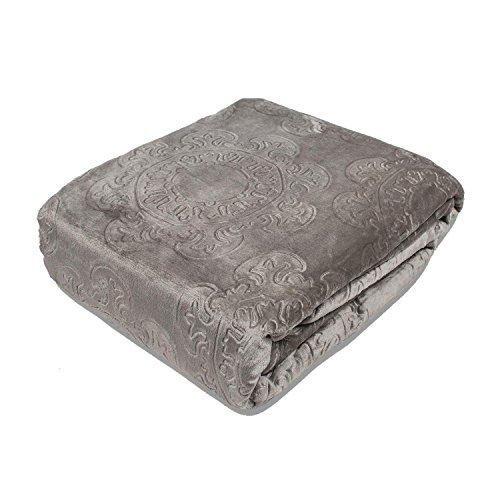 (Fraiche Maison Italian Tile Hot Pressed Velvet Plush Blanket, Full/Queen, French Roast)