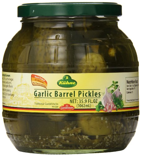 Kuhne Barrel Pickles, Garlic, 35.9 oz.