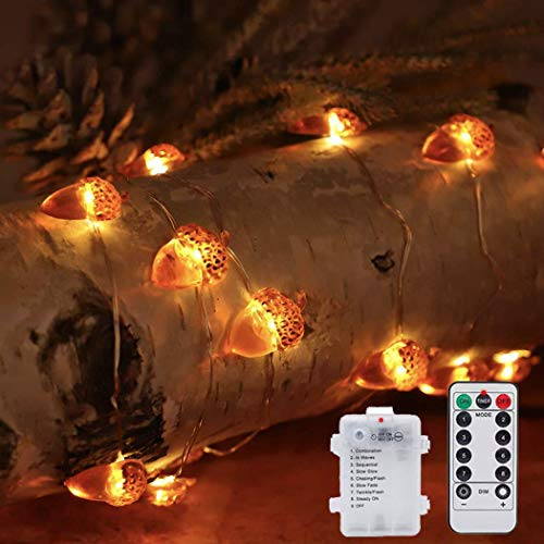 Keepax 3D Acorn String Lights, 10ft 40 LED Battery Powered with 8 Flicker Modes, Remote and Timer for Fall, Halloween, Thanksgiving, Wedding, Birthday ()