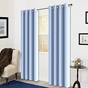 Blackout window curtain panel grommet top for Best blackout window treatments