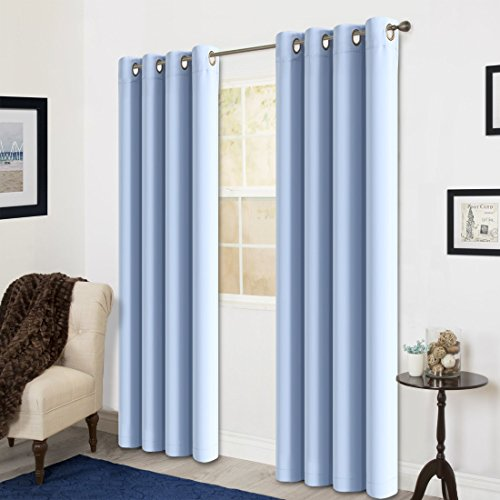 Room Darkening Soild Color Grommet Window Curtain For Living Room 3 Dimensions(52 by 84inch, Blue)