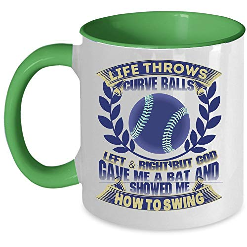 Christmas Mug, Baseball Coffee Mug, Life Throws Curve Balls Left And Right Accent Mug (Accent Mug - Green) ()