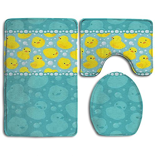 Guiping Yellow Cartoon Duckies Swimming In Water Pattern With Fun Bubbles Aqua Colors Bathroom Rug Mats Set 3 Piece,Funny Bathroom Rugs Graphic Bathroom Sets,Anti-skid Toilet Mat Set