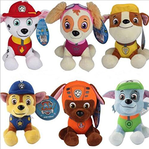 6Pcs PAW PATROL COMPLETE SET of 6 Cute Dogs plush Doll Dog Toy Zuma 12CM (Spelletjes Halloween)