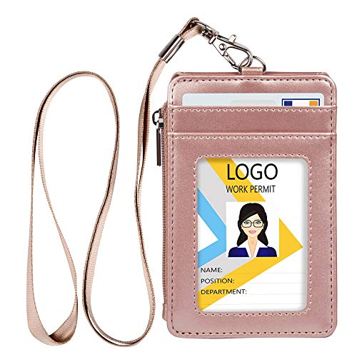 Leather Badge Holder with Zipper and Lanyard,1 Clear ID Window and 3 Card Slots with Flip Cover Protector, 1 Zipper Wallet Pocket on The Side,1 Detachable Lanyard/Strap (Rose Gold)