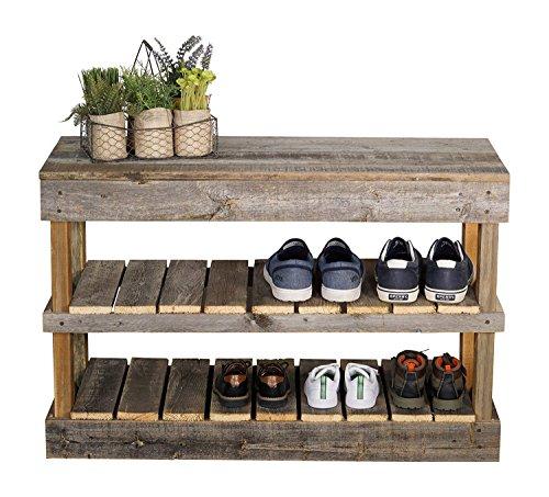 Del Hutson Designs Rustic Barnwood Shoe Rack (Natural)