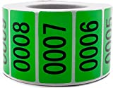 Green Enzo Consecutively Numbered Sticker Labels 1.5 x 0.75' Water Proof Oil Resistance from Serial Number 1 to 1000 1.7' Core Roll