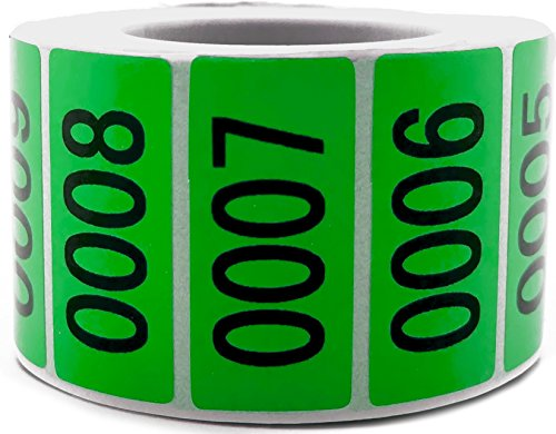 Green Enzo Consecutively Numbered Sticker Labels 1.5 x 0.75 Water Proof Oil Resistance from Serial Number 1 to 1000 1.7 Core Roll