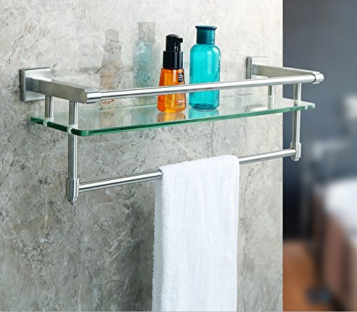 Bathroom Glass Shelf Finish (Alise Shower Glass Shelf SUS 304 Stainless Steel Bathroom Shelf with Towel Bar/Rail Wall Mount,Brushed Finish,GK9012)