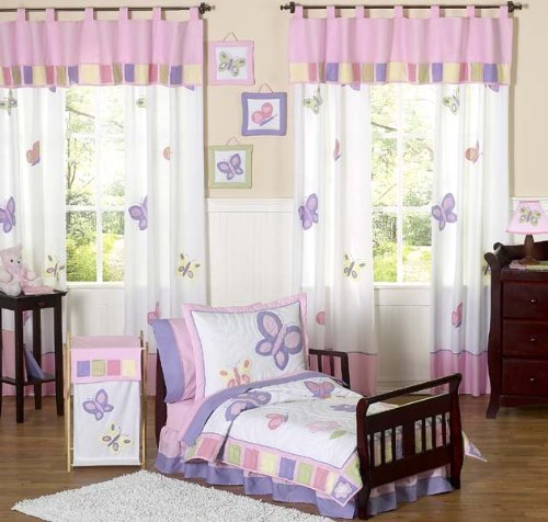 Pink and Purple Butterfly Collection Toddler Bedding 5 pc set by Sweet Jojo Designs by Sweet Jojo Designs