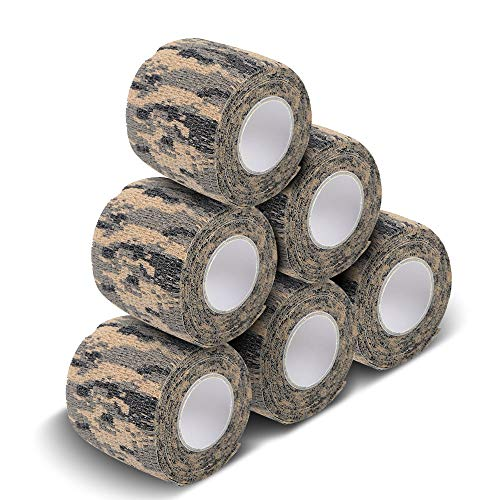 - AIRSSON 5 Roll Camouflage Tape Military Camo Stretch Bandage for Gun Rifle Camping Hunting 2