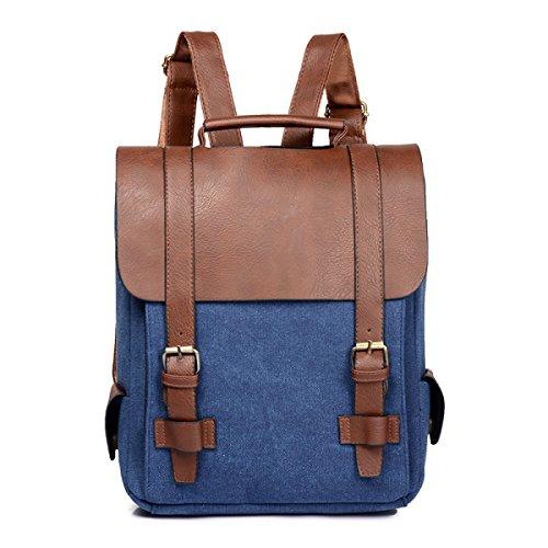 YUEER Rucksack Handtaschen Retro-Leinwand Persönlichkeit Männlich Freizeittasche England College Wind Rucksack,Green Blue