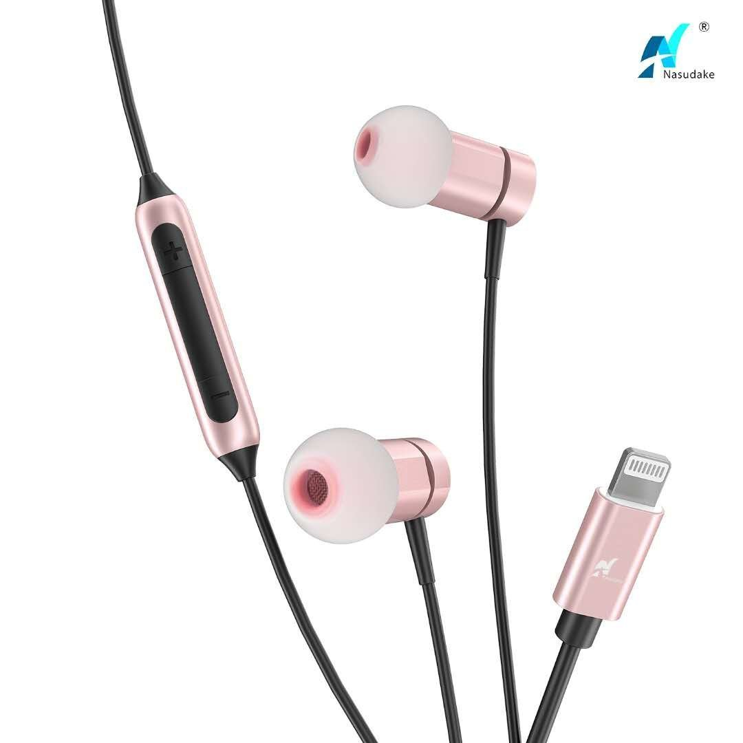 NASUDAKE MFi A1 Plus iPhone Earbuds, Stereo Lightning Headphones w/Noise Cancelling Siri Active Feature Lightning In-Ear Wired Earphone w/Mic & Remote for iPhone X, 8/8 Plus (Rose Gold) by Nasudake (Image #1)