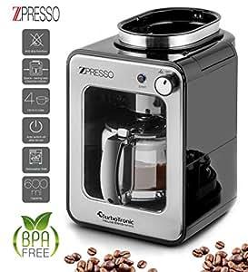Cafetera con molinillo de caf incorporado de acero inoxidable 4 6 tazas caf de filtro 0 6 - Cafetera con molinillo incorporado ...
