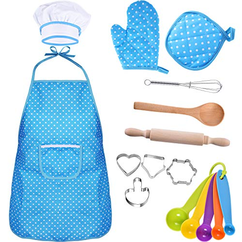 Bememo Kids Chef Set Children Cooking Play Kids Cook Costume with Utensils for Girls Children's Day Gift, 16 Pieces (Blue) -
