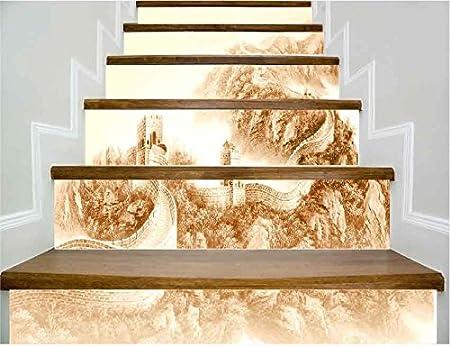 Escaleras de papel tapiz autoadhesivo Great Wall decoración del hogar 3D desmontable DIY pegatinas tridimensionales HD moderno papel pintado de la escalera a prueba de agua comprar tres y obtener uno gratis:
