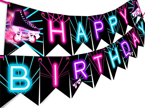 Roller Skating Glow Rainbow Happy Birthday Banner Pennant - Roller Skating Party Supplies - Roller Skating Party Decorations - Glow -