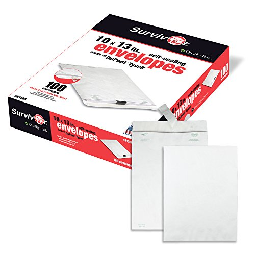 Quality Park Survivor R1580 Tyvek Mailer, 10 x 13, White (Box of 100) ()