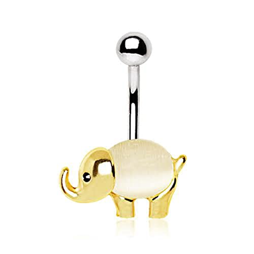 c39e68546 Image Unavailable. Image not available for. Color: Gold Plated White Cat's  Eye Stone Elephant WildKlass ...