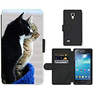 Hot Style Cell Phone Card Slot PU Leather Wallet Case // M00109382 Cat Pet Cat Face // Samsung Galaxy S4 Mini i9190