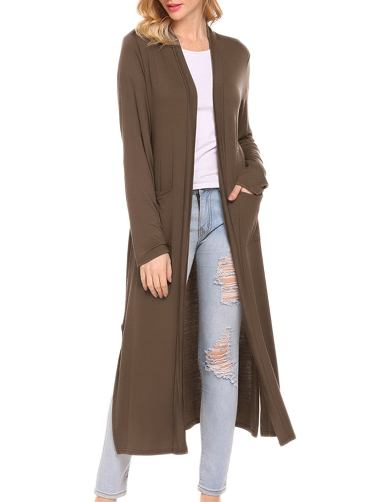 Locryz Womens Long Sleeve Open Front Soft Long Duster Cardigan with Pockets (L, Dark Brown)