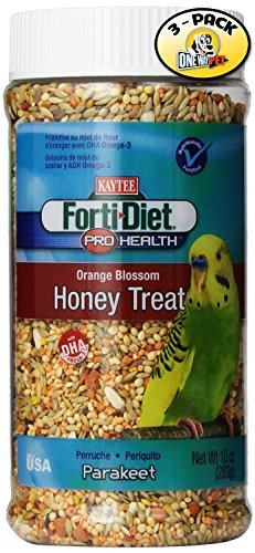 Kaytee Forti Diet Pro Health Parakeet Orange Blossom Honey Treats, 10-Ounce (Pack of 3) by Kaytee