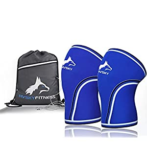 Knee Sleeves ( 1 Pair w/ Gym Bag ) Best Orthopedic Knee Support & Pain Compression Brace for Squats, WOD, Weightlifting, Powerlifting – HVSKY Fitness 7mm Strong Knee Sleeves – Unisex (Blue, Medium)