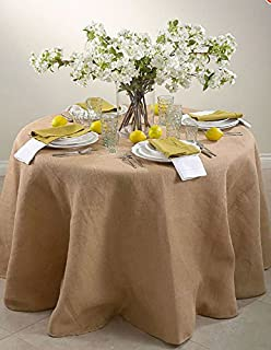 90 Inch Round Jute Burlap Round Table Overlay Table Cover   Natural. Made In