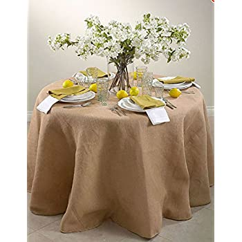 60 Inch Round Jute Burlap Round Table Overlay Table Cover   Natural. Made In