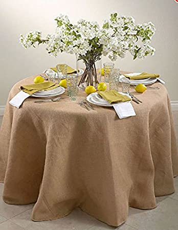 Perfect 72 Inch Round Jute Burlap Round Table Overlay Table Cover   Natural. Made In