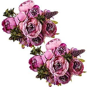 Silk Flower Arrangements Ogrmar Vintage Artificial Peony Silk Flowers Bouquet for Decoration (Purple x2)