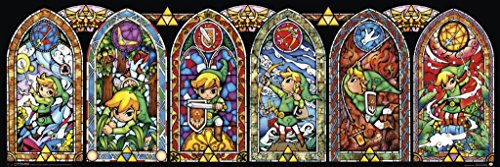 Legend of Zelda Stained Glass Windows Video Game Gaming Poster 36x12 inch