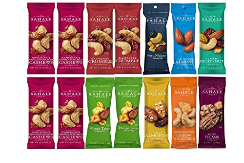 (Sahale Snacks All Natural Nut Blends Grab And Go Variety 9-Flavor (1.5 oz x 14 CT Packs) with 2 Snack Clips)