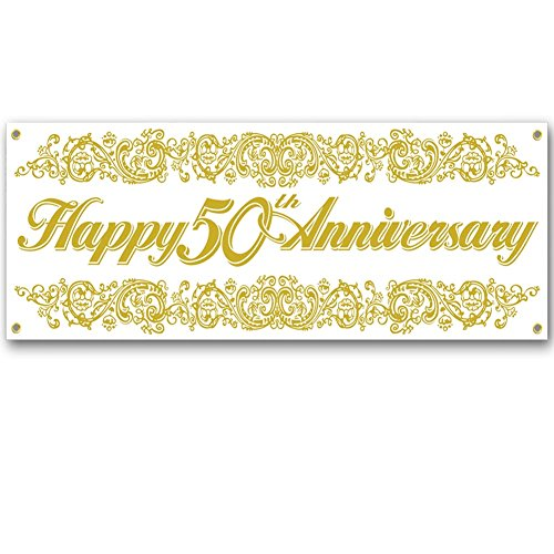 50th Anniversary Sign Banner Party Accessory (1 count) (1/Pkg) ()