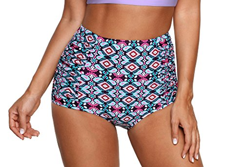 - Tribal/Plaid/Solid/Floral Vintage Retro High Waisted Bikini Bottom-BX030-PPT3