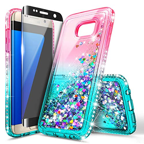 Galaxy S7 Edge Case with Screen Protector (Full Coverage 3D PET) for Girls Women Kids, NageBee Glitter Liquid Bling Floating Waterfall Sparkle Cute Case for Samsung Galaxy S7 Edge -Pink/Aqua