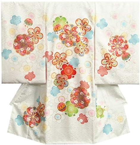 お宮参り 着物 女の子 正絹初着 白地 梅華尽くし文様 金コマ刺繍使い サヤ地紋生地 日本製