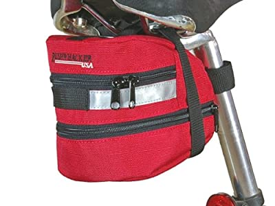 Bushwhacker Carson Red - Bicycle Expandable Seat Wedge - w/ Reflective Trim & Light Clip Attachment - Cycling Under Seat Bag Bike Rear Pack Saddle Bag Frame Front Rear Accessories