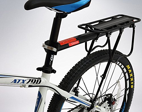 Dirza Rear Bike Rack Bicycle Cargo Rack Quick Release Adjustable Alloy Bicycle Carrier 115 Lb Capacity Easy to Install Black by Dirza (Image #3)