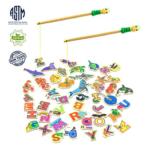 MEIGO Magnetic Fishing Game – Toddler Wooden Magnet Animals and Letters Educational Toys for Kids 2 3 4 5 Year Old Boys Girls (46pcs)