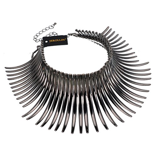 - Statement Collar Choker Chuncky Bib Necklace(Set), African Sparkling Canine Shape Fringe Necklace(Set) for Women Fashion Jewelry(Set) for Girls